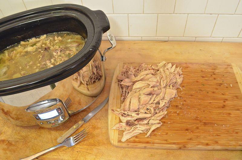 Slow-cooker-chicken-stock-soup-bones-in
