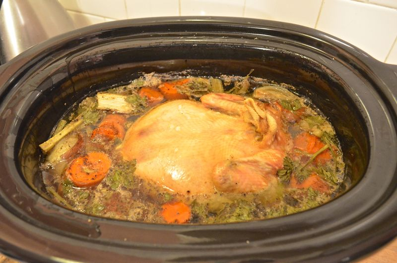 Slow-cooker-chicken-stock-soup-six-hours-later