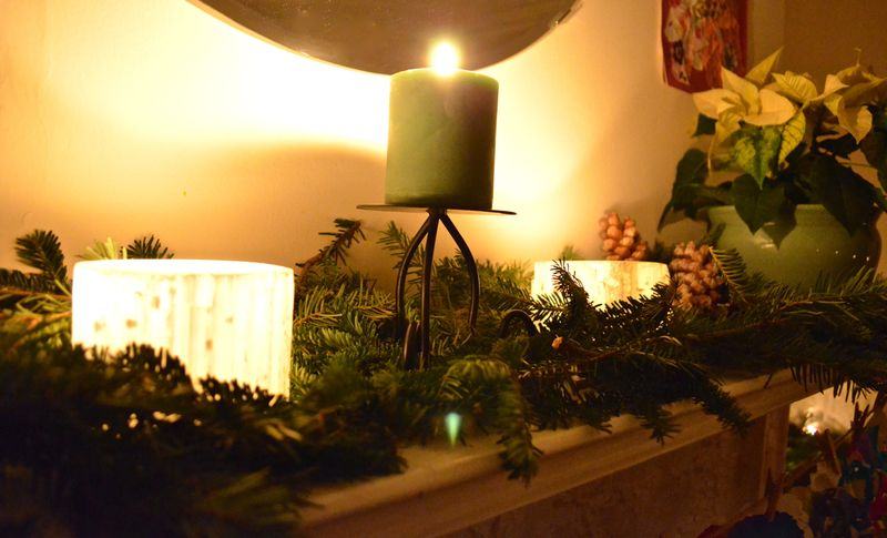 Solistice-mantel-candles-greens