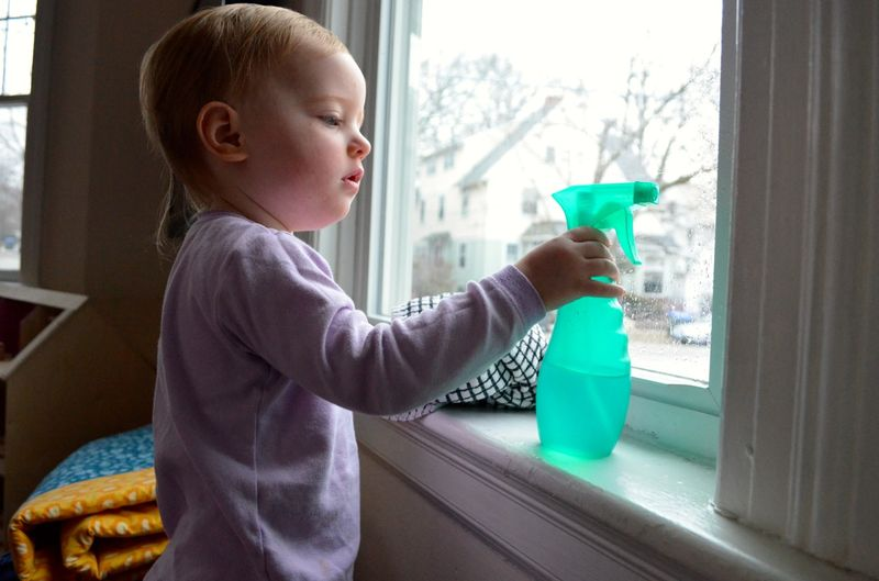 Window washing toddler1