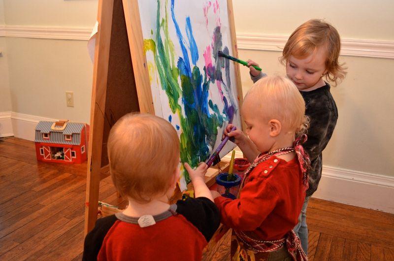 Three-kids-painting