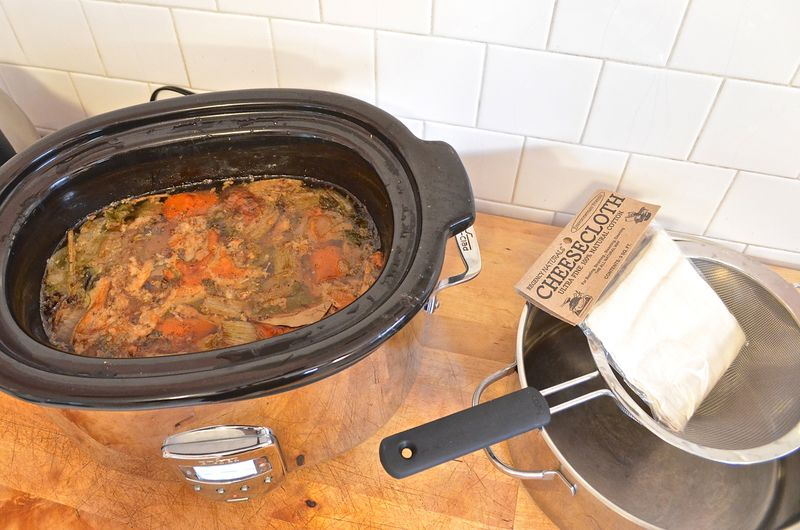 Slow-cooker-chicken-stock-soup-cheesecloth