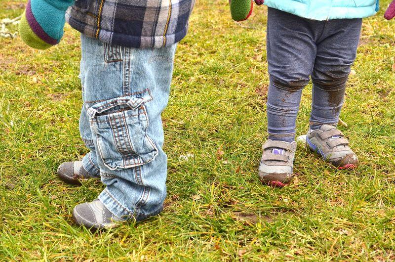 Toddler muddy feet