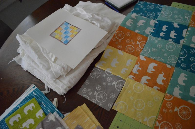 Modern bicycle elephant baby quilt organic birch fabrics3