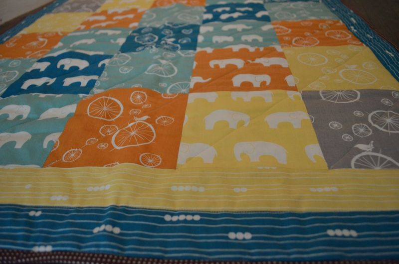 Modern bicycle elephant baby quilt organic birch fabrics5