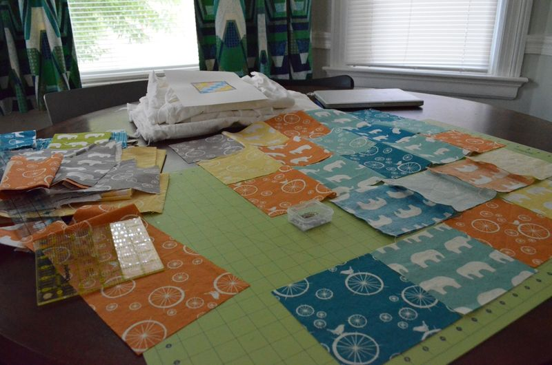 Modern bicycle elephant baby quilt organic birch fabrics2