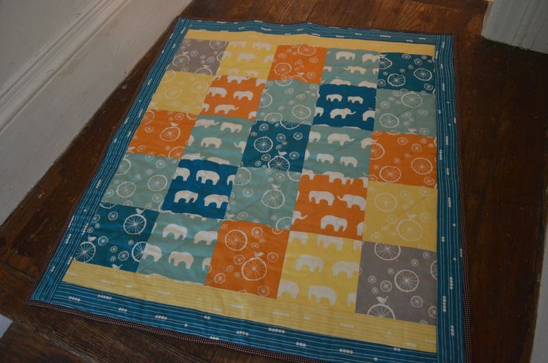Modern bicycle elephant baby quilt organic birch fabrics4