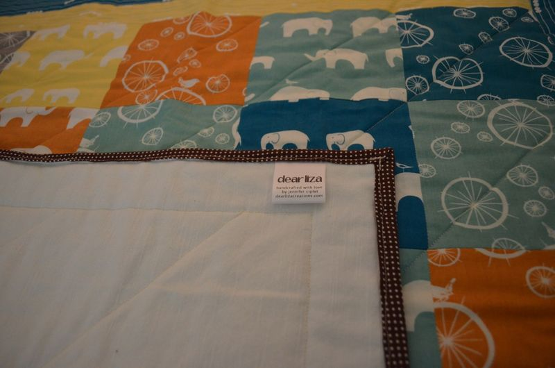Modern bicycle elephant baby quilt organic birch fabrics8