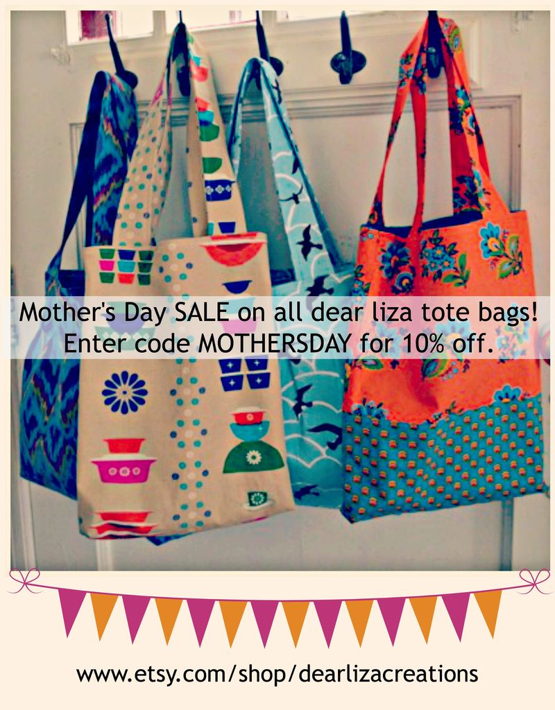 Dearlizacreations mothers day sale easy tote bags